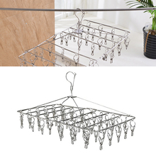 1PC Stainless Steel Drying Racks Laundry Hanger with Set of 52 Clothespins for Drying Clothing Towels Diaper Underwear Socks