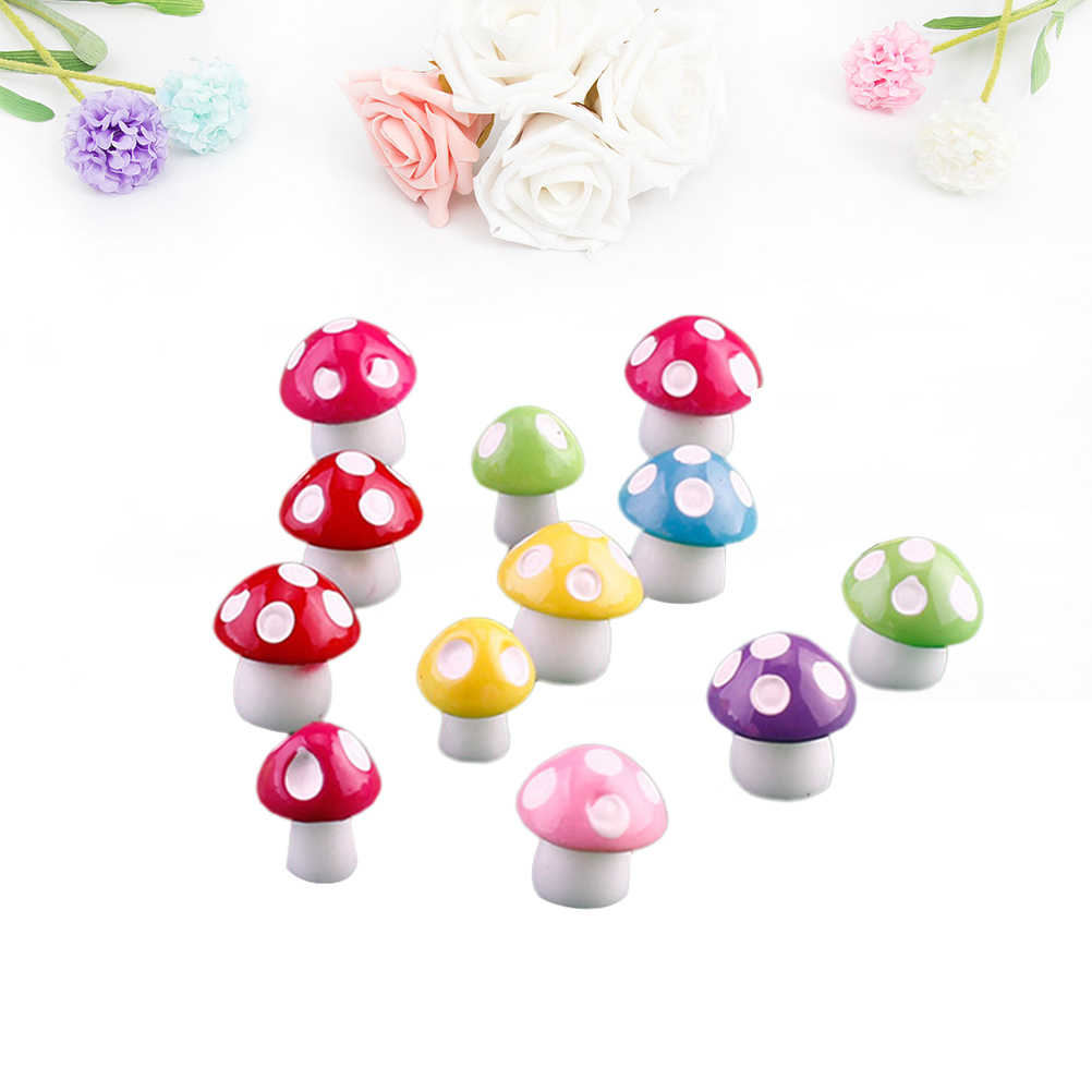 50 Pcs Mushroom Ornament Colorful Artificial Creative Resin Garden Ornament Miniature Crafts Bonsai Decor for Garden Patio