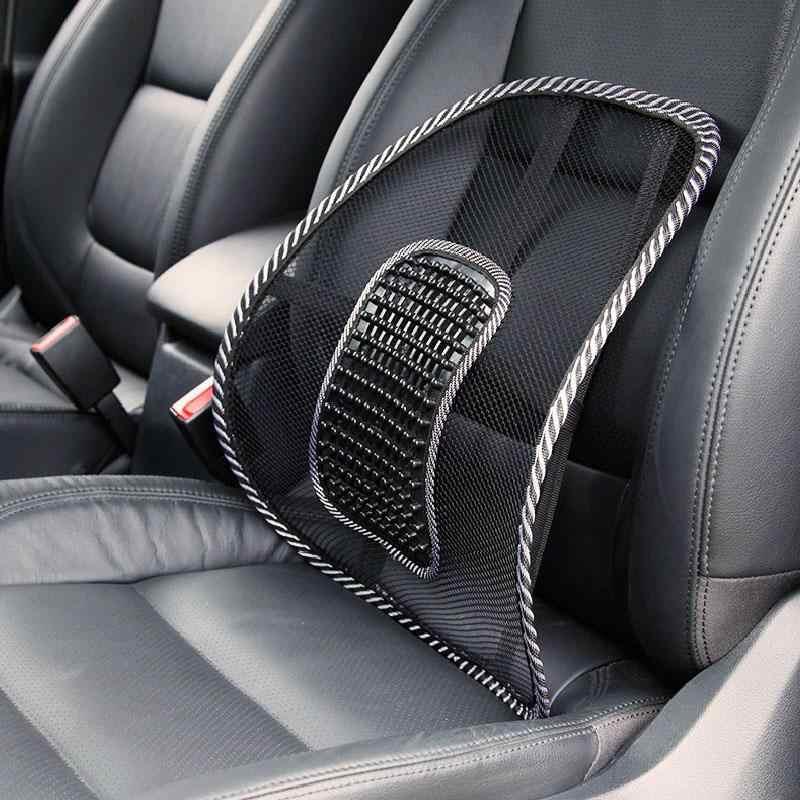Tela de malla asiento de coche cojín Lumbar soporte de cintura Lumbar almohada automóviles silla de oficina alivio de dolor de espalda accesorios de automóvil negro