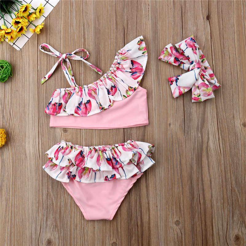 bafe6a16cdd4 ... Fashion 3Pcs Toddler Kids Baby Girl Flower Ruffle Bikini Set Lovely Bottoms  Headband Swimwear Swimsuit Bathing