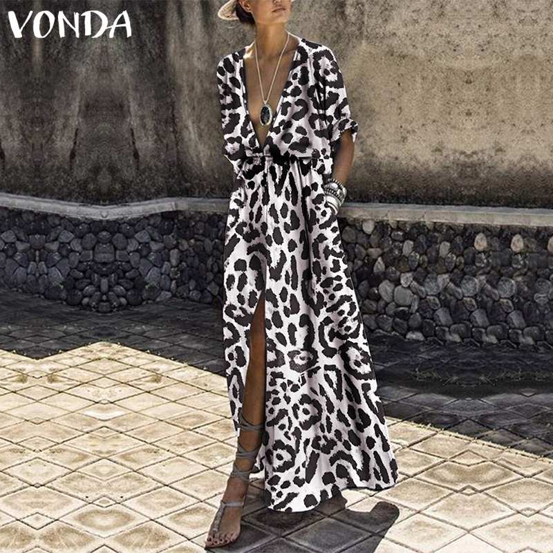 VONDA Plus Size Leopard Dress Women Sexy V Neck Half Sleeve High Waist Split Party Dresses 2019 Casual Loose Summer Vestidos