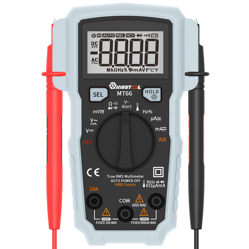 MT66 True RMS 5999 Counts Digital Multimeter AC/DC Current Voltage Frequency Resistance Capacitance Temperature Tester newacalox lcd temperature tester digital multimeter ac dc voltage current resistance capacitance measurement tool with battery