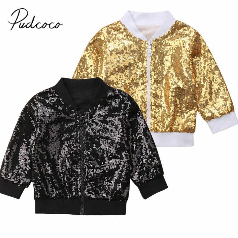 bd9cb1ce6 2018 Brand New Autumn Fashion Toddler Kids Baby Girls Sequined Jacket Coat  Long Sleeve Zipper Slim