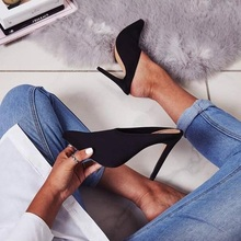 Sexy Women Black Suede Stiletto Heels Dress Pumps Pointed Toe Slip-on Slippers Cut-out Vamp Style Gladiator Heels Pumps недорого