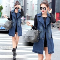 Plus Size 3Xl 2019 Spring New Fashion Denim Jacket Sleeveless Denim Vest Casual Women Long Jeans Outerwear