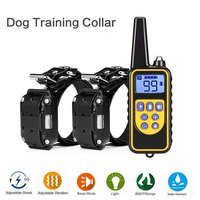 2 Receiver Electric Pet Dog Training Collar Waterproof Rechargeable LCD Display 800M Remote Control Dog Training Collar EU US UK