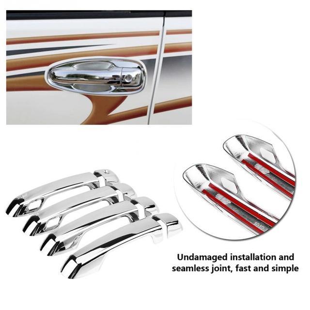 8 pcs Silver Chrome Car Chromium Electroplating Door Handle Cover Trim for Toyota Land Cruiser Prado 2010-2018 Car Styling