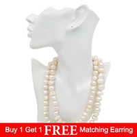 Lii Ji Grade A+Natural Big Baroque Freshwater Pearl 12 15mm 925 Sterling silver Long Necklace 103cm