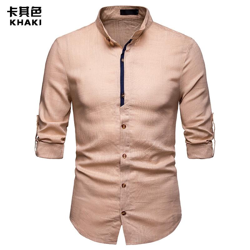 9b37cbc51745635 #4501 2019 Весна мужские стандартные для рубашек Fit хлопок белье с длинным  рукавом повседневное Винтаж
