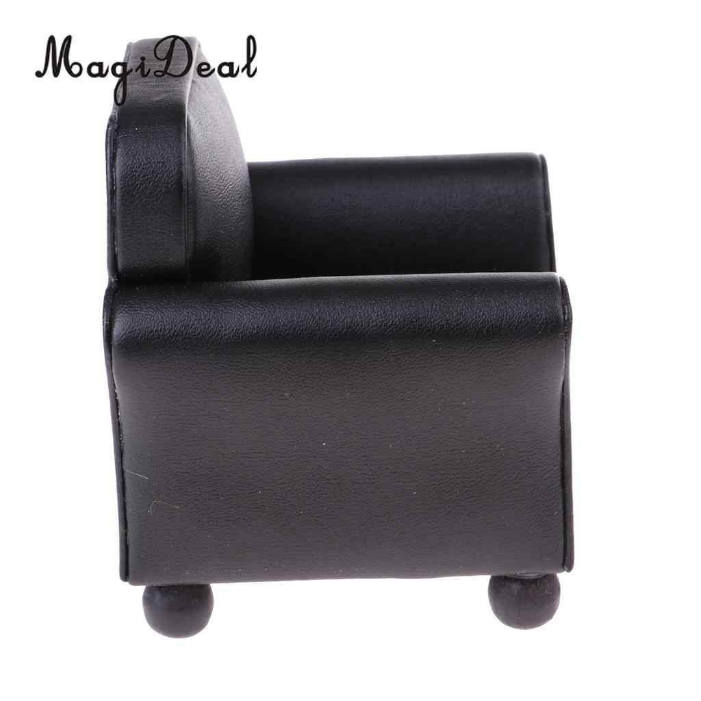 1//12 Scale Dollhouse Furniture Leather Long Sofa Couch Miniature Room Decor