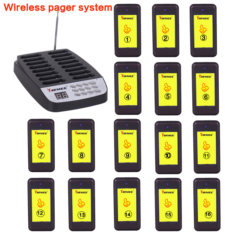 YARMEE YPS 216 Hospital Nurse Call System Wireless Pagers for Patient with 16pcs Coast Pager and