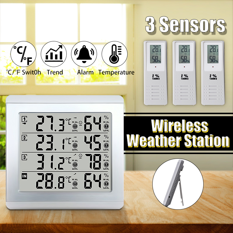 Weather Station LCD Thermometer Hygrometer Indoor/Outdoor Temperature Humidity Sensor Monitor Alert W/3 Wireless Transmitter