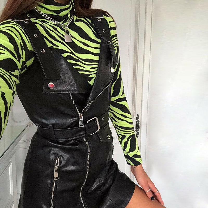 Summer Bodysuits 2019 New Summer Women Long Sleeve Turtleneck Casual Bodysuit Women Casual Zebra Print Bodysuit