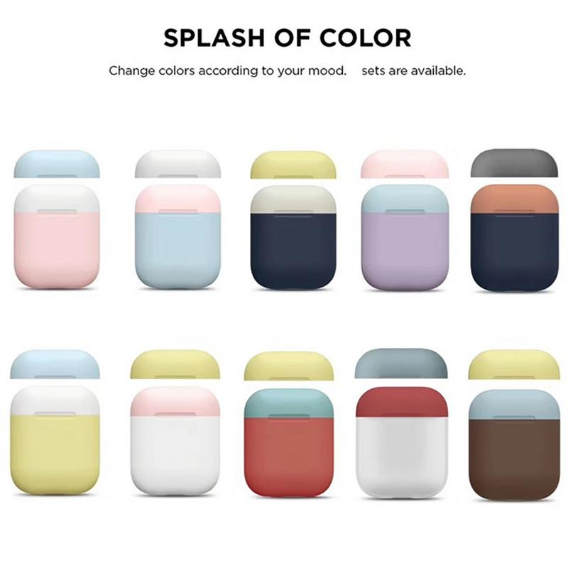 Double Cap Drop Protection Sleeve Silicone Case For Apple Airpods Headphones Wireless Bluetooth Soft Shell Without Buttons