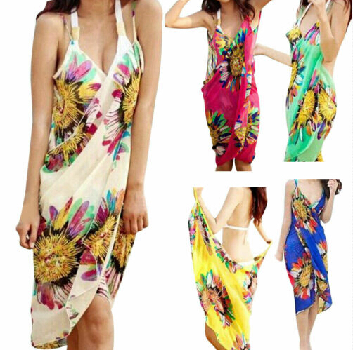 Swimwear Sarong-Wrap Bathing-Suit Cover-Up Mesh Floral-Strap Beach-Dress Sexy Summer