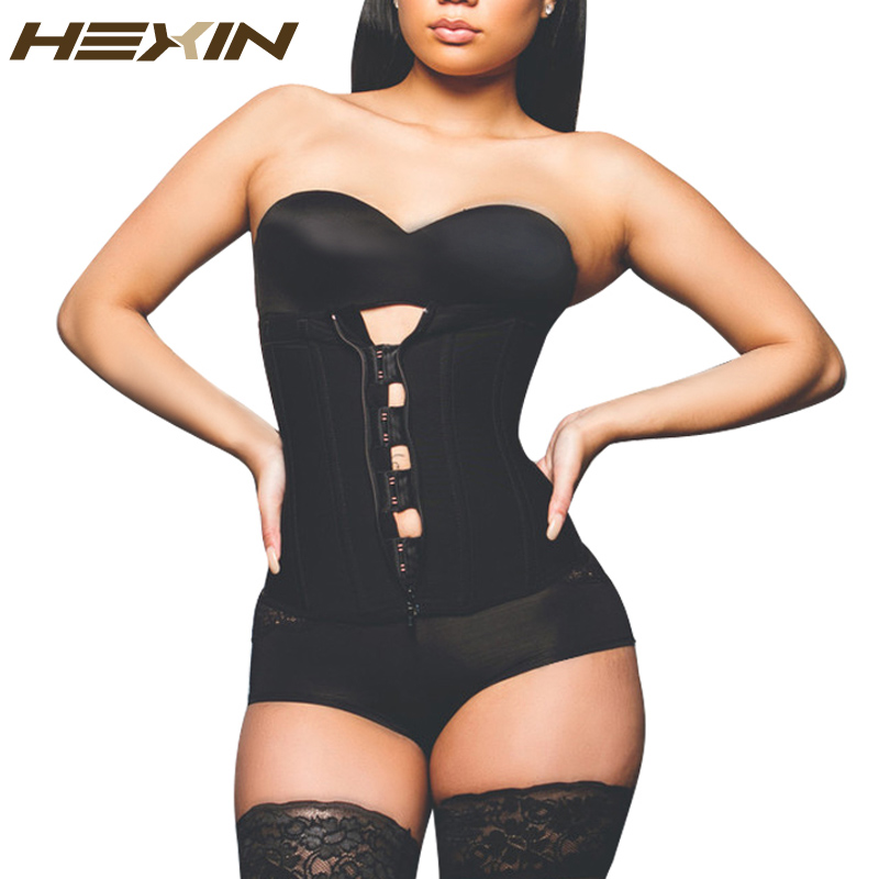 HEXIN Clip and Zip Latex Waist Trainer Black ,Nude Waist Cincher Women  Body Shapers Waist Trainer Corsets Slimming Shapwear