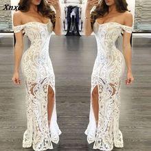 Sexy Slim Package Hip Maxi Dress Women Off Shoulder Split Elegant Long Party Dresses Summer Female Clothes S M L XL Xnxee