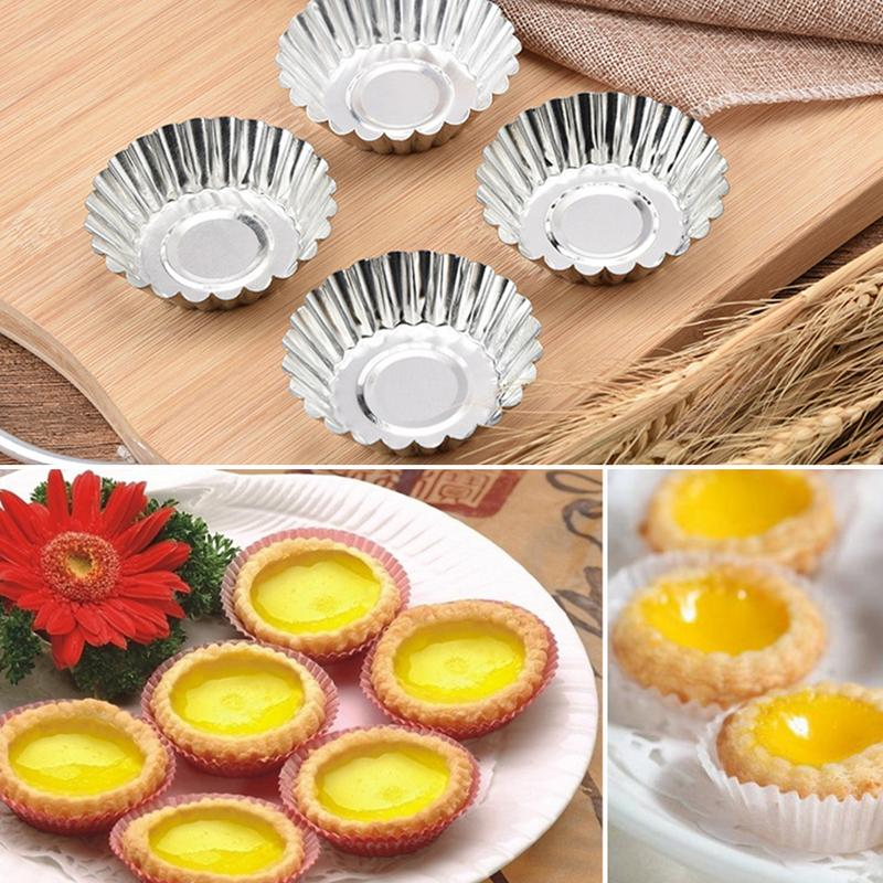 Image 2 - 5/10/20pcs Egg Tart Molds Stainless Steel Cupcake Mold Thickened Reusable Cake Cookie Mold Tin Baking Tool Baking Cups-in Cake Molds from Home & Garden