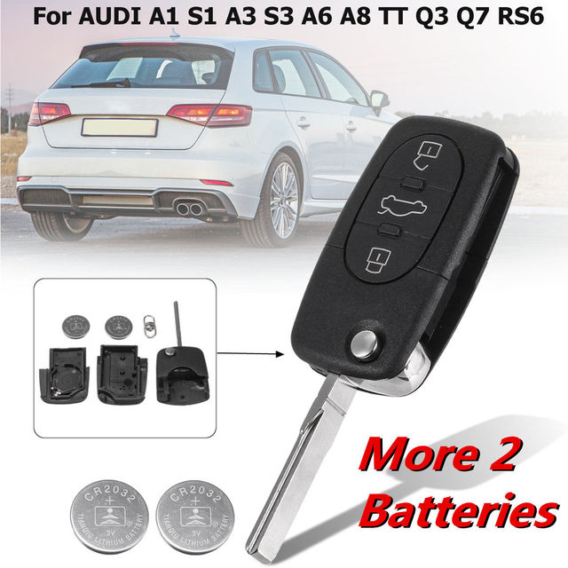 3 Ons Car Remote Key Fob Case Shell With 2 Batteries Replacement For Audi A1 S1