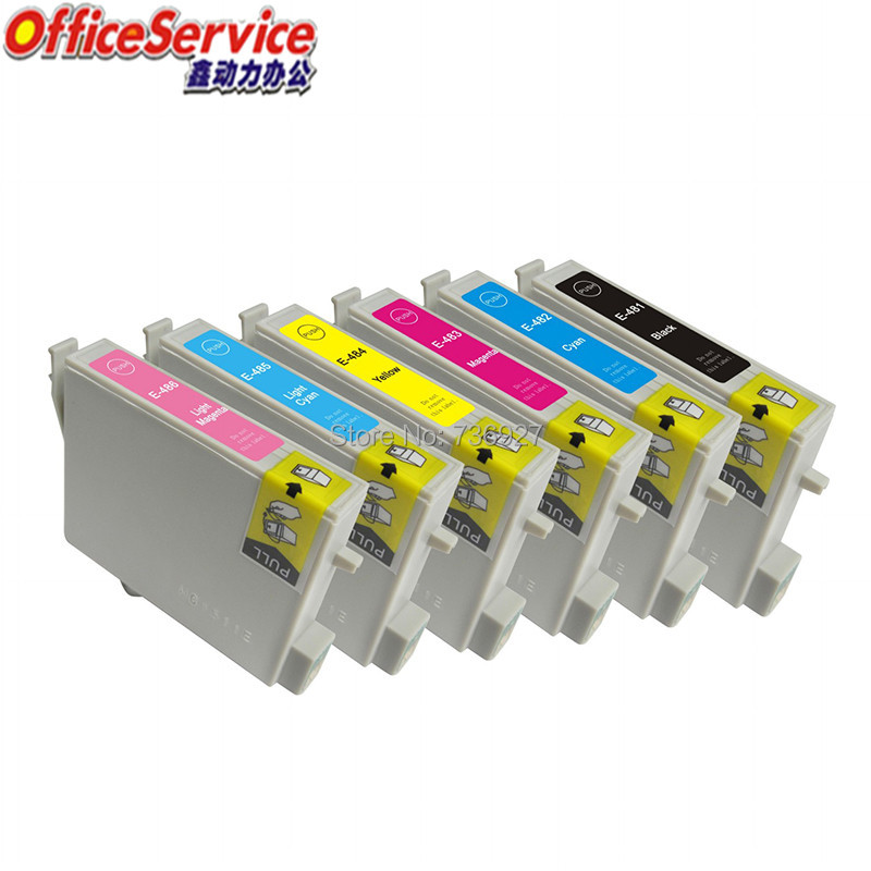 Compatible Ink Cartridge T0481 to T0486 For Epson , for Stylus Photo R220 R300M R320 R340 RX500 RX600 RX620 RX640 printer image