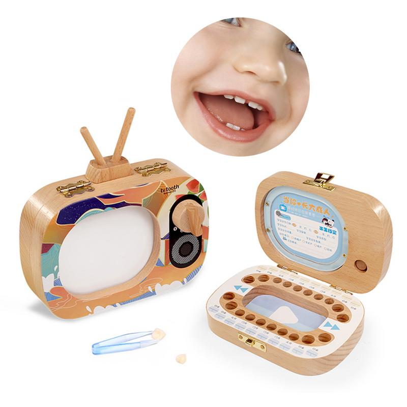 Baby Milk Teeth Box Wooden Tooth Box Baby Tooth Organizer For Kids Deciduous Storage Box Memorial  Gift
