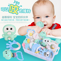 Baby Toys 0 3 6 12 Individual Month Hand Bell Dental Adhesive Suit Baby Toys 0 1 Year Newborn Child Toys