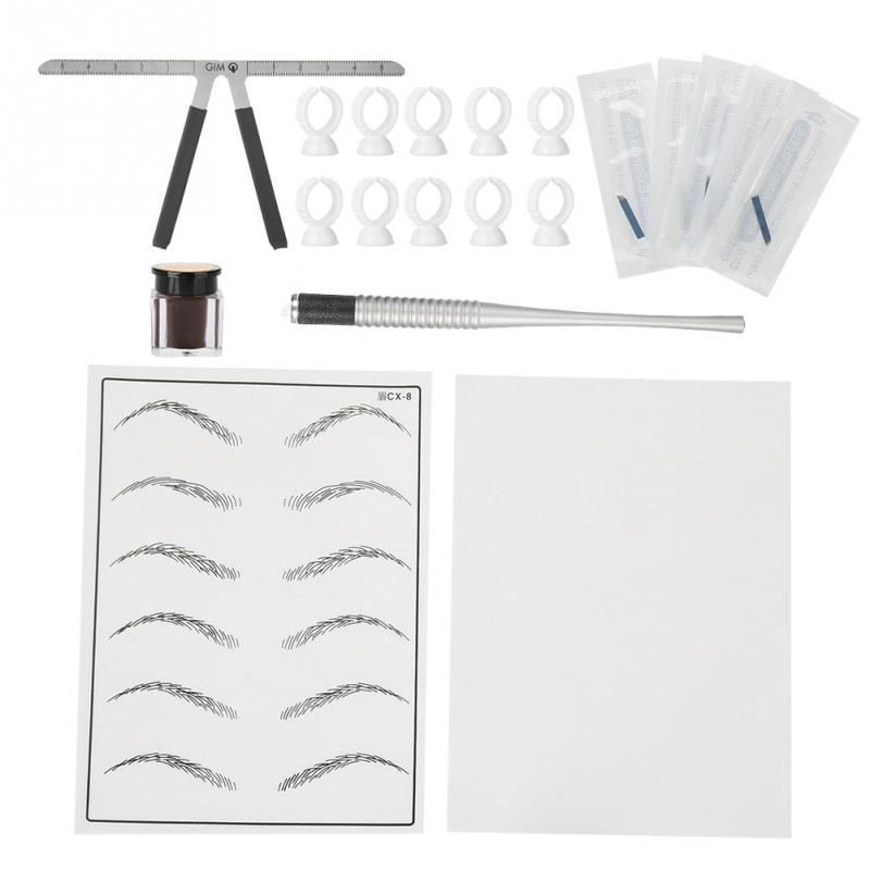 Semi-Permanent Eyebrow Microblading Tattoo Makeup Tool Pen Blade Needle Pigment Cup Set Kit For Eyebrow Lip Body Makeup