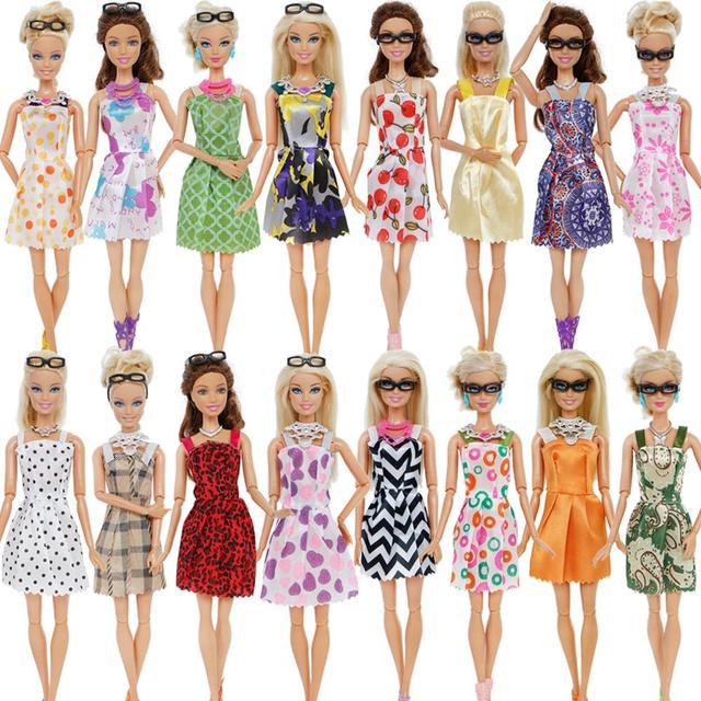 30 Item/Set Doll Accessories = 10x Mix Fashion Cute Dress + 4x Glasses+ 6x Necklaces +  10x Shoes  Dress Clothes For Barbie Doll 1