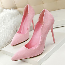 European Style Fashion Career Ol Thin With Pink Suede High-Heeled Shoes Shallow Mouth Pointed Toe High Heels Pumps DS-A0024 2018 spring shoes maryja with high heels and shallow mouth suede big buckle women shoes green fashion pumps