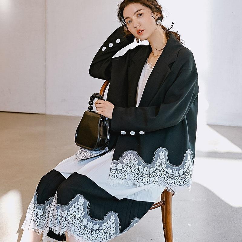 Couleur Q003 Bureau Black De Patchwork Ourlet Veste 2019 Blazers Design Dentelle Personnalité Contraste Femme Style Mode Nouveau IE92WHD