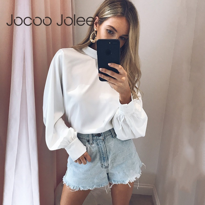 Jocoo Jolee Long Sleeve Stand Neck Chiffon   Blouse   Women Loose Tops Streetwear Solid   Blouse     Shirts   Summer Clothes blusas mujer