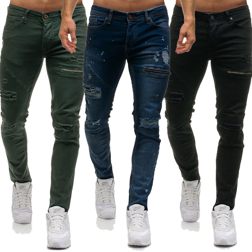 Thefound 2019 Fashion Mens Stretch Cuffed Hem Jogger Slim Ripped Designer Skinny