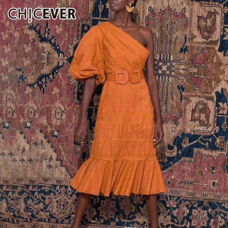 CHICEVER décontracté solide femmes robe une épaule manches bouffantes taille haute ceintures évider robes Midi femme mode été nouveau