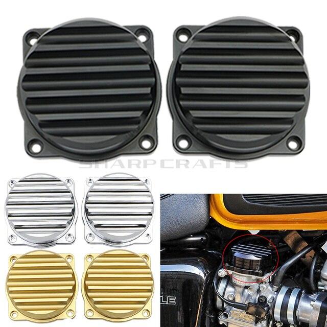 2 חבילה אופנוע CNC הזרקת קרבורטור כיסוי אדווה פליז פחמימות צמרות עבור טריומף בונוויל שלגון Thruxton 900 2008 2015
