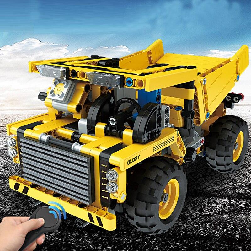 490 pièces blocs briques bricolage assembler camion minier 2.4G sans fil télécommande voiture camion jouets éducatifs cadeau d'anniversaire costume