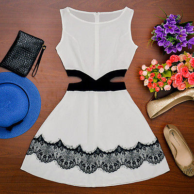 New 2019 Sexy Women Casual Summer Dress Lady Clothing Party Sleeveless O-neck Lace-up Hollow Out Fashion Mini Dress Black White