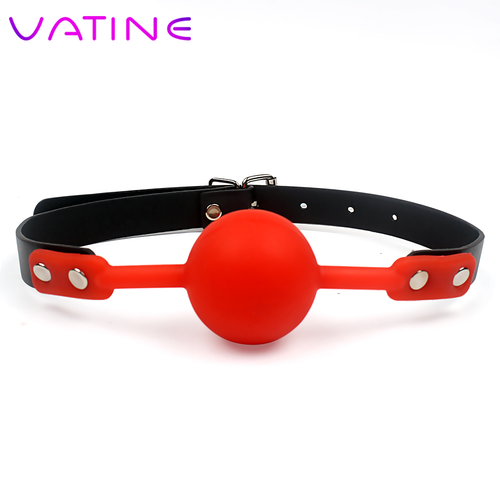 VATINE Erotic Product PU Leather Band Silicone Ball Bondage Sex Toys For Couples Adult Games Mouth Gag Ball Oral Fixation