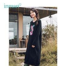 INMAN الشتاء الياقة المستديرة التطريز الأدبية طويلة الأكمام مقطع طويل فستان المرأة الصوفية