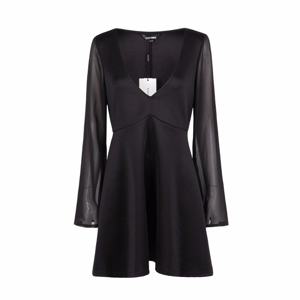 HYH HAOYIHUI Plus Size Solid Deep V Neck Long Flare Sleeve Dress Women Clothing Chiffon Hot High Waist Mini Dress 4XL 5XL 6XL in Dresses from Women 39 s Clothing