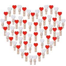 100 шт. Мини Деревянные застежки сердце(белый+ красный) зажимы деревянные украшения маленькие прищепки декоративные зажимы Деревянные прищепки Декор