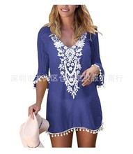 2019 women fashion casual dress New Style Beach V-neck Half Sleeves Grid Lace Cover-up Sun plus size 5XL