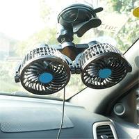 12V Multi Functional Cigarette Ignition Car Double Head Electric Fan Suction Cup Truck Webasto Car Accessories Car Fan Solar Fan