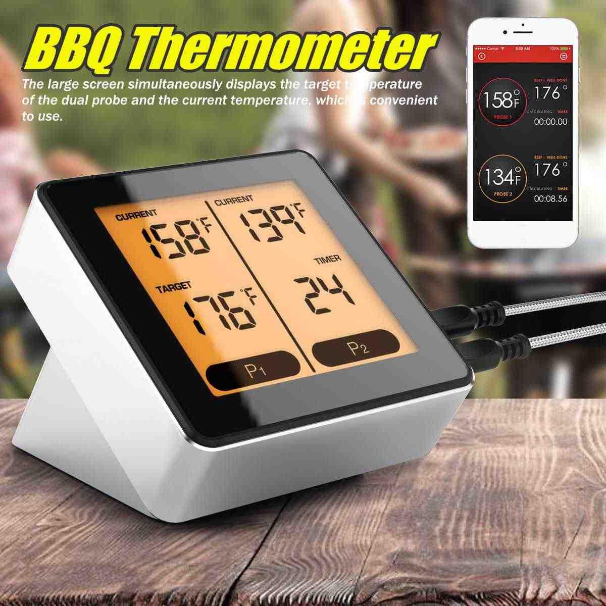 Thermomètre sans fil bluetooth BBQ thermomètre LCD cuisine thermomètre sonde APP contrôle température Instrument outils jauges rétro-éclairé