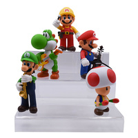 5 PCS/set Anime Music Concert Super Mario Bros Toad Donkey Kong Yoshi Luigi PVC Action Figure Doll Collectible Model Baby Toy