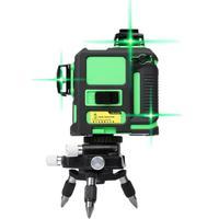12 линий 3D Лазерные уровни самовыравнивания 360 горизонтальный вертикальный крест супер мощный зеленый лазерный луч линии инструмент IP54 Водо