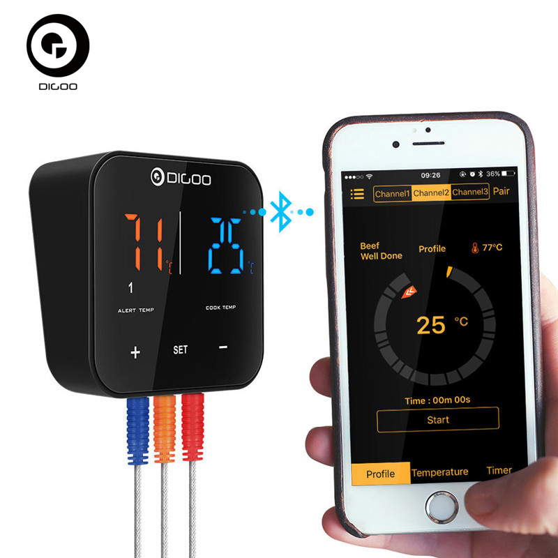 Digoo DG FT2303 Three Channels Smart bluetooth APP Control BBQ Thermometer Kitchen Cooking Thermometer for Smart Home AutomationDigoo DG FT2303 Three Channels Smart bluetooth APP Control BBQ Thermometer Kitchen Cooking Thermometer for Smart Home Automation