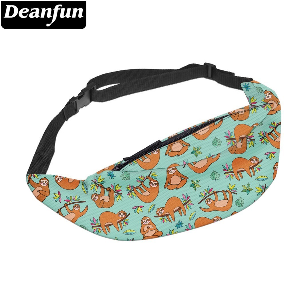 Deanfun Waterproof Sloth Fanny Packs Belt Bag Travel Waist Pack Hip Bum Bag With Adjustable Strap  YB-43