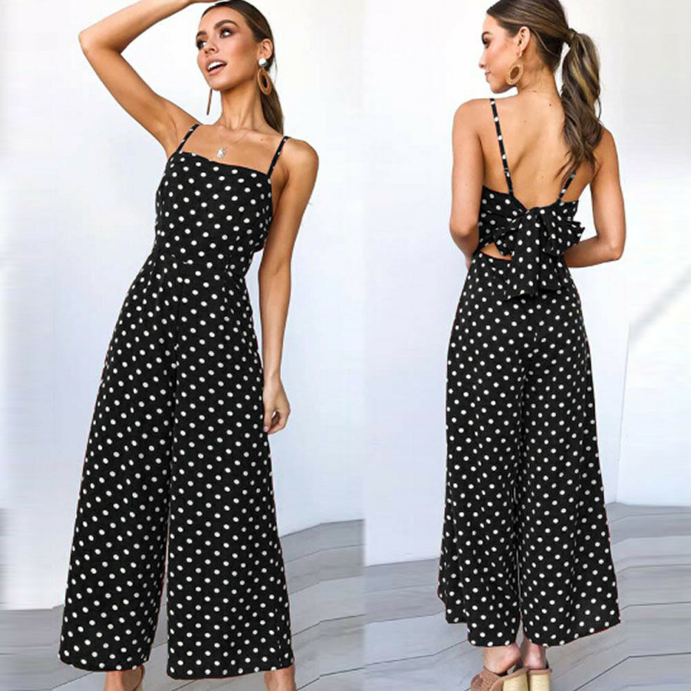 Women's Summer Backless Sleeveless Loose Polka Dot Bodycon Party Jumpsuit Playsuit Clubwear Bodysuit Black Blue Red Yellow
