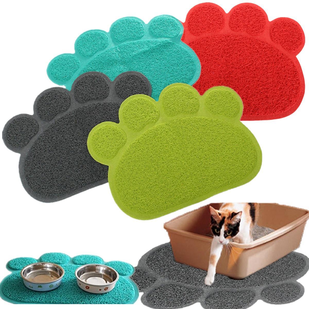 Multicolor PVC Paw Print Pad Dog Cat Litter Mat Pet Puppy Dish Feeding Bowl Placemat Anti-skid Waterproof Sleeping Placemat