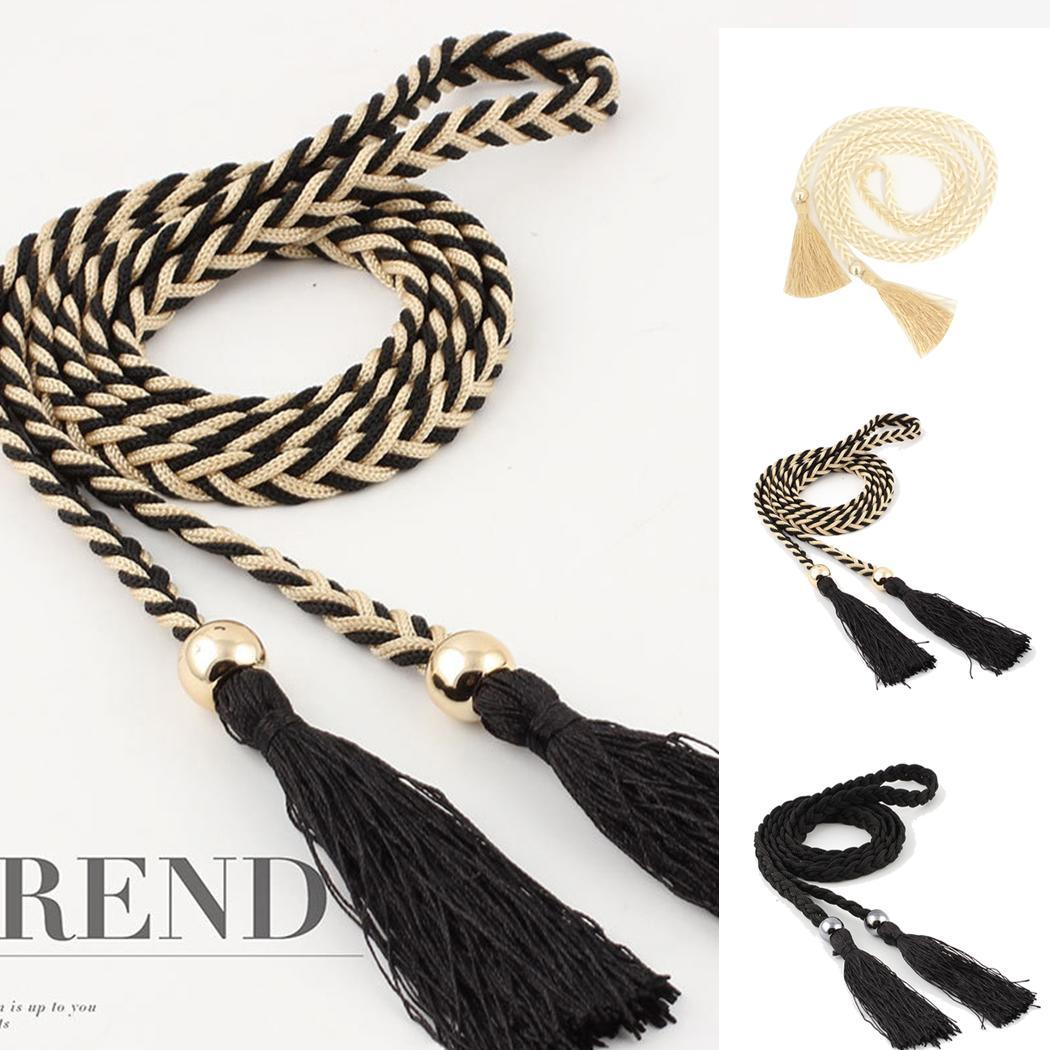 None Women Fashion Braided Style Waist Rope Decorated Flexible and durable Casual Waist Solid Woven Tassel   Belt